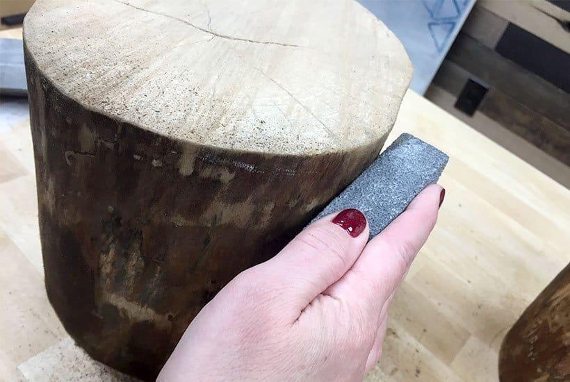 Sanding an easy DIY stump stool