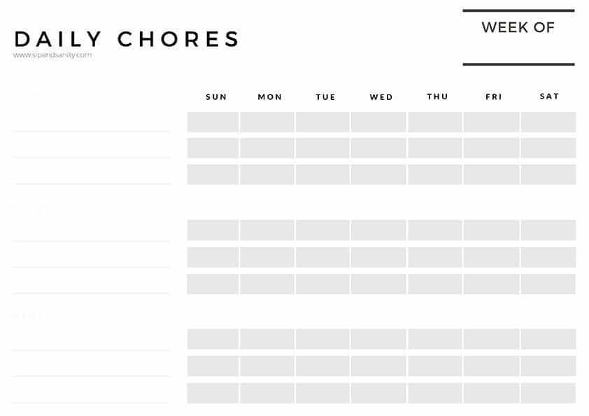 command center daily chore chart