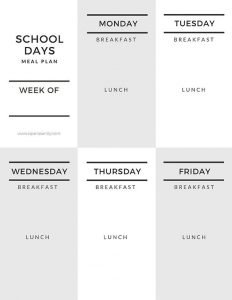 school days meal planner