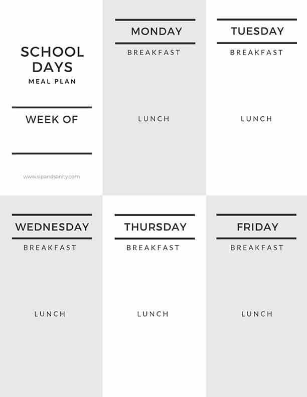 school days meal planner