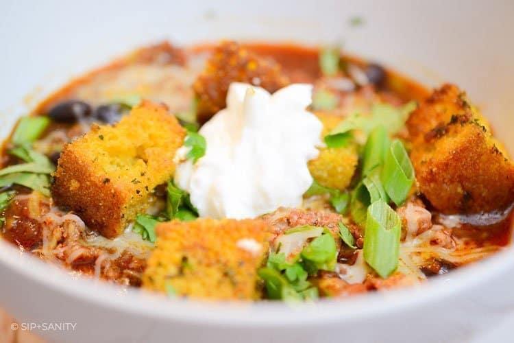 bowl of chorizo and black bean chili