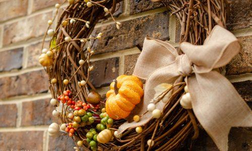 closeup of autumn wreath