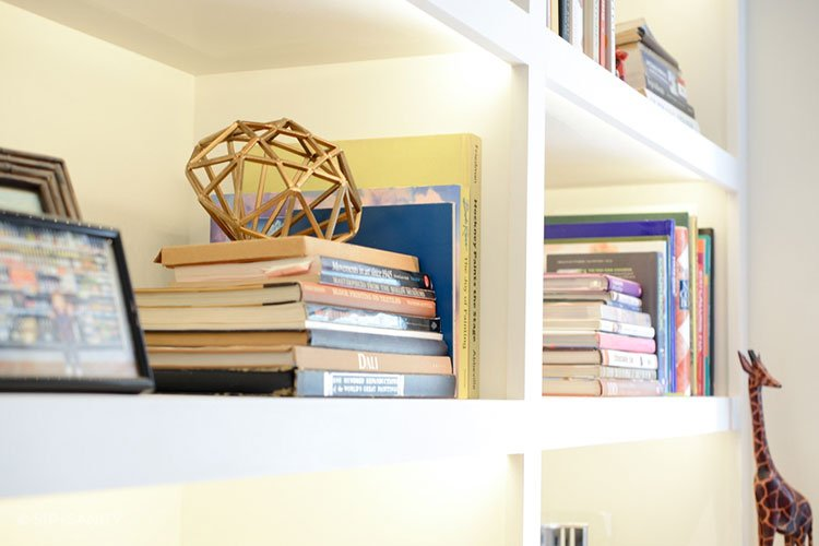 close up of home office shelves