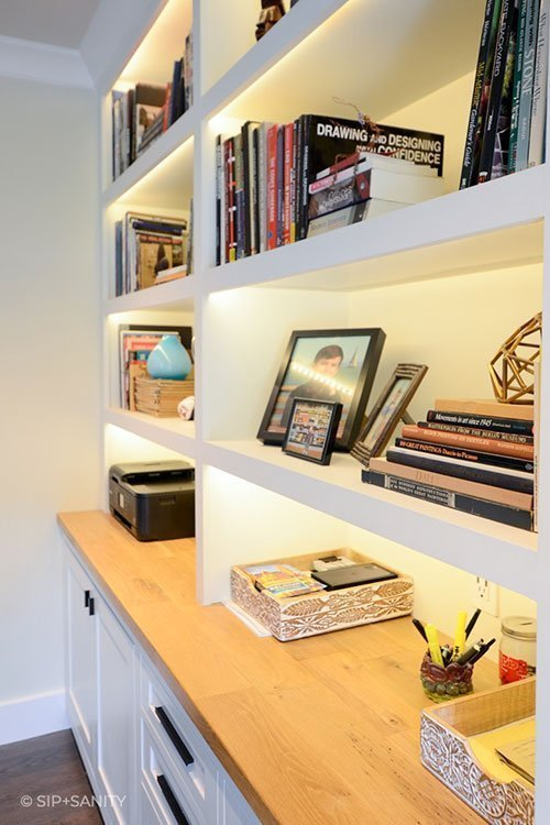 home office built-in cabinets and shelves