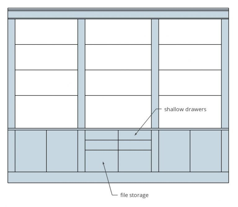 concept drawing of office built-ins