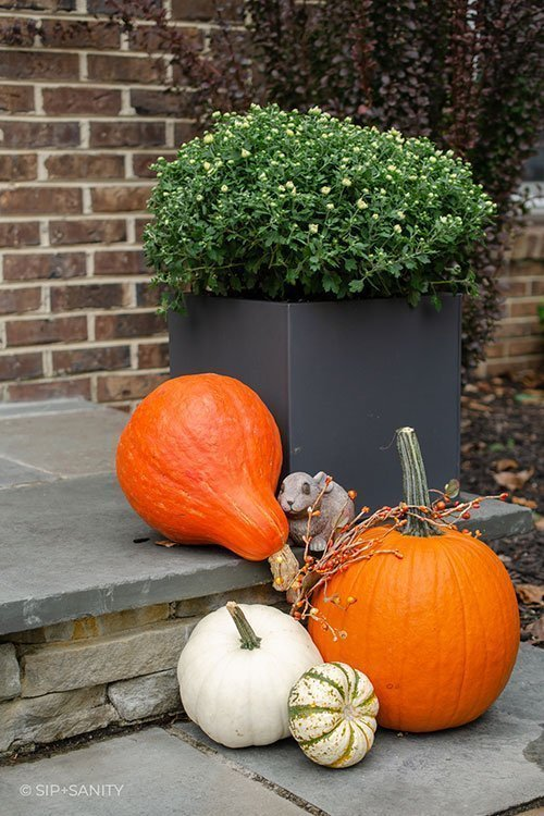an autumn front porch with pumpkins and mums