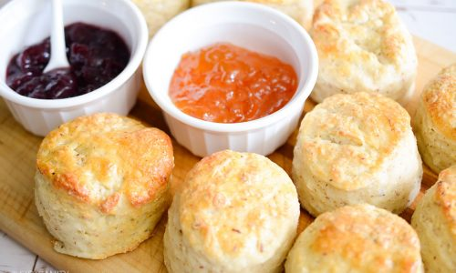 biscuits & jam on a cutting board