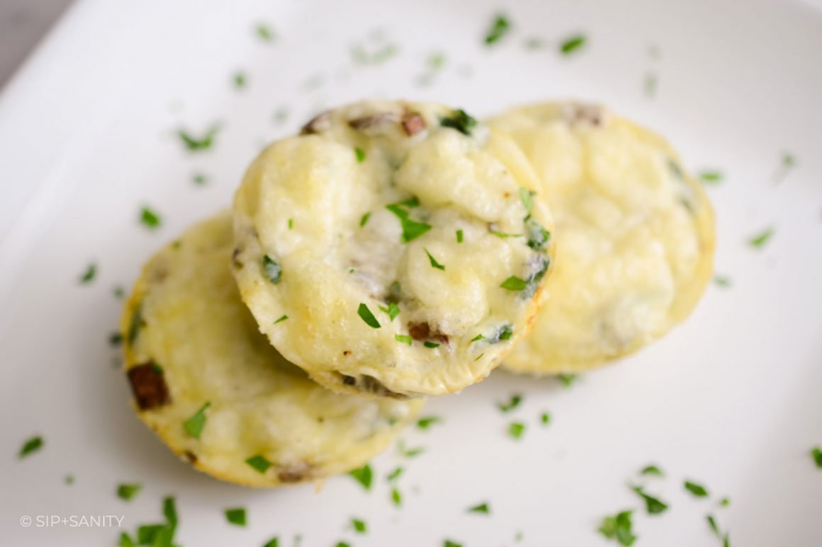 three stacked mushroom and swiss omelet muffins