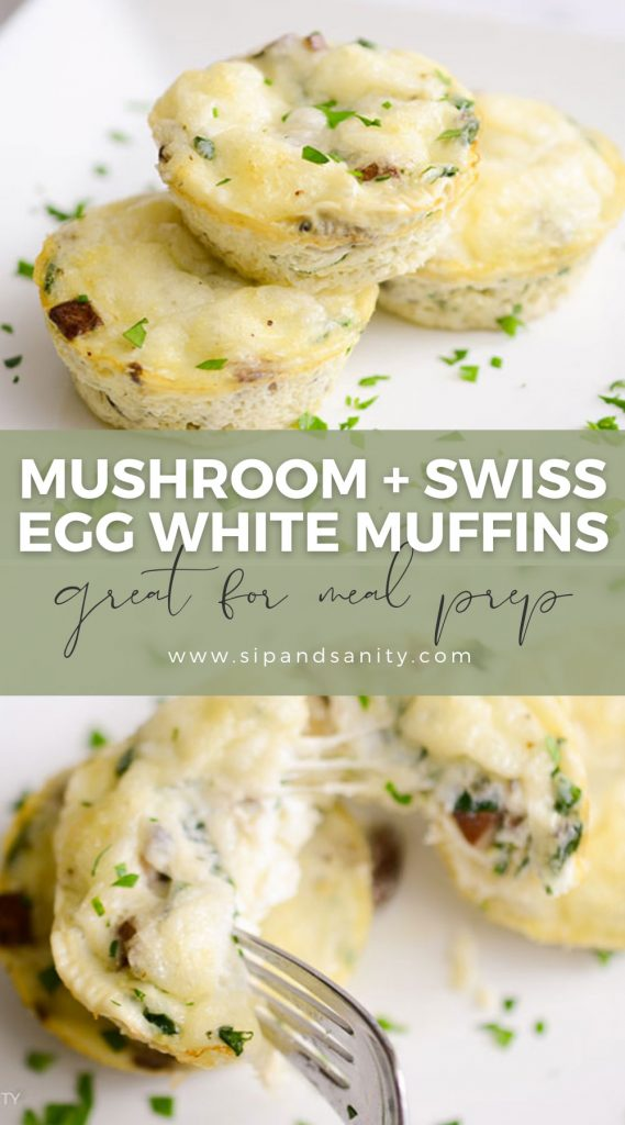 pin image for mushroom and swiss egg white muffins
