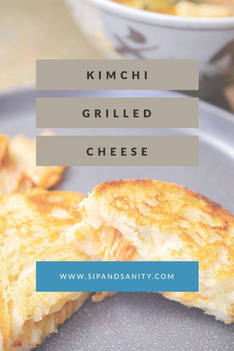 pin image for kimchi grilled cheese