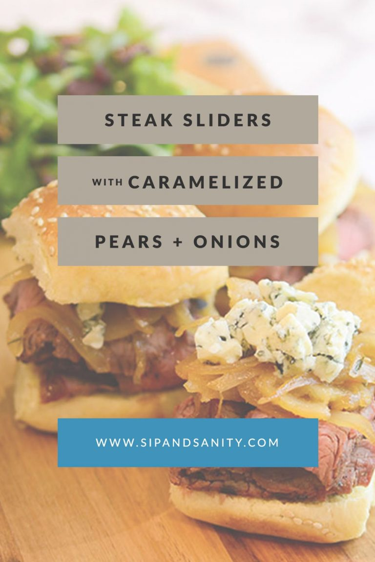 pinnable image for steak sliders with caramelized pears, onions + gorgonzola