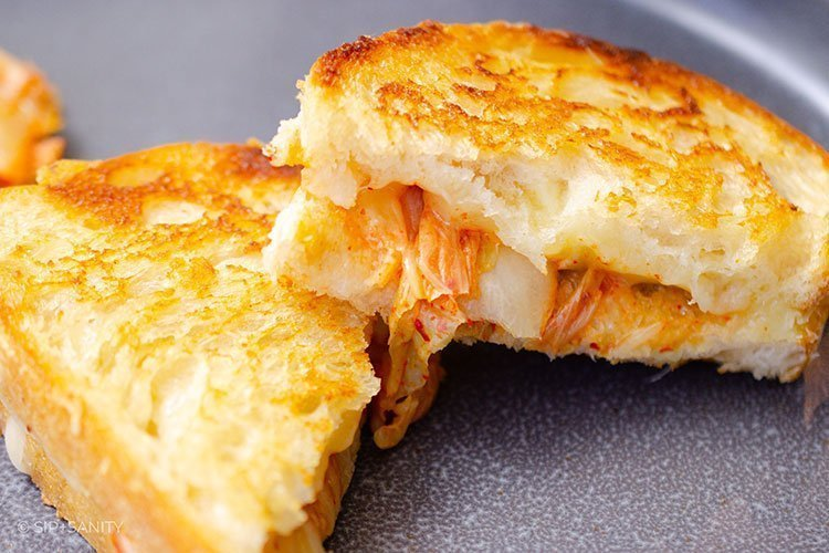 kimchi grilled cheese on a plate