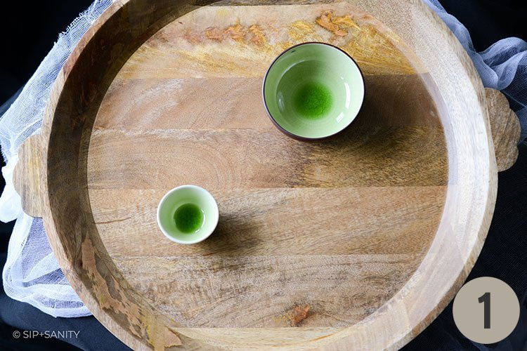 round wooden board and bowls