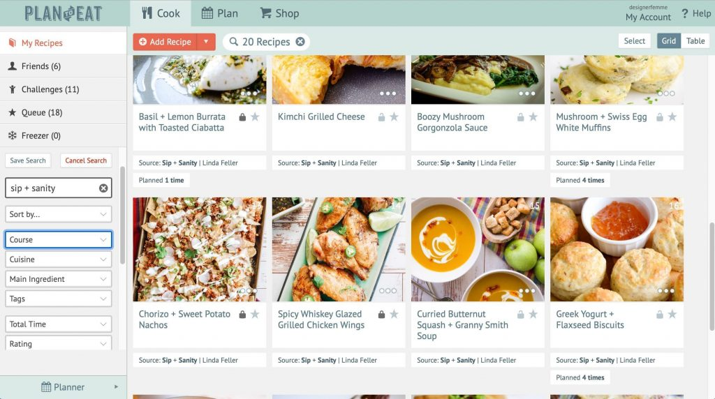 desktop screenshot of meal planning app recipe collection