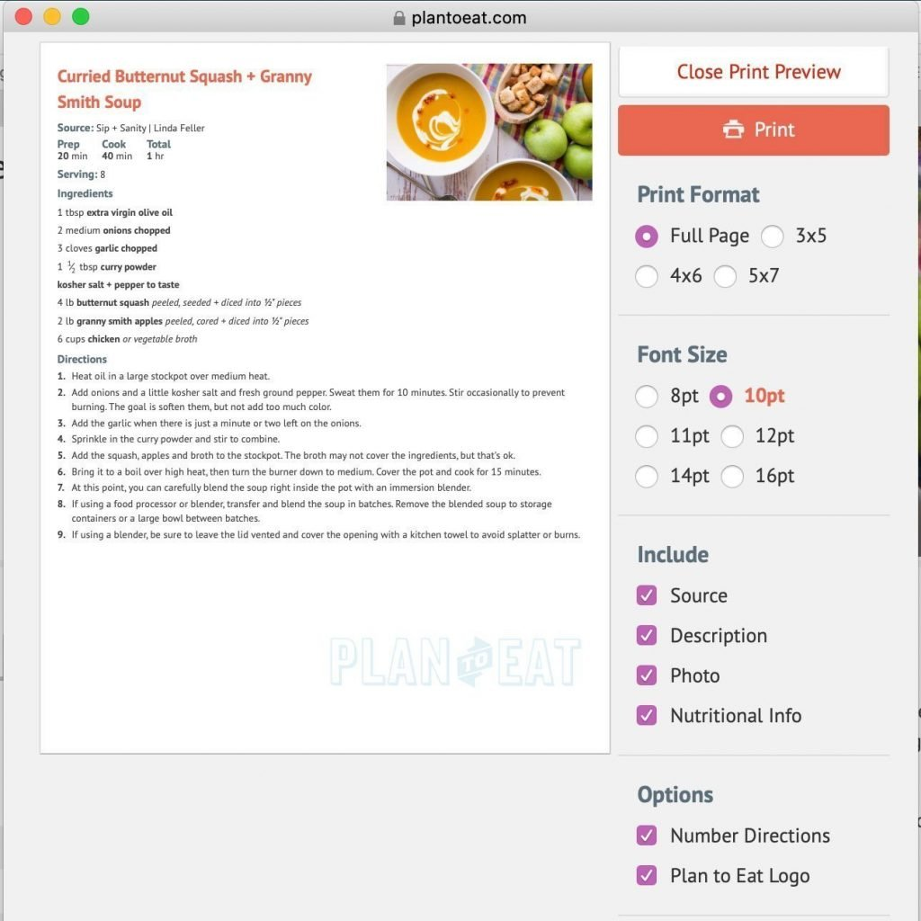 screen shot of meal planning app recipe print preview