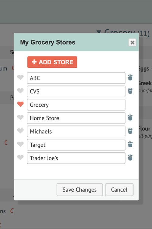 screen shot of meal planning app grocery stores list