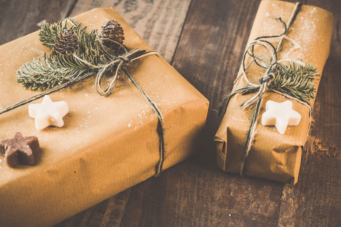 gift wrapped in brown paper and tied up with string