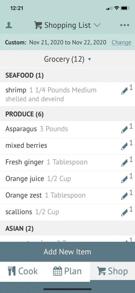 screen shot of meal planning app phone shopping list