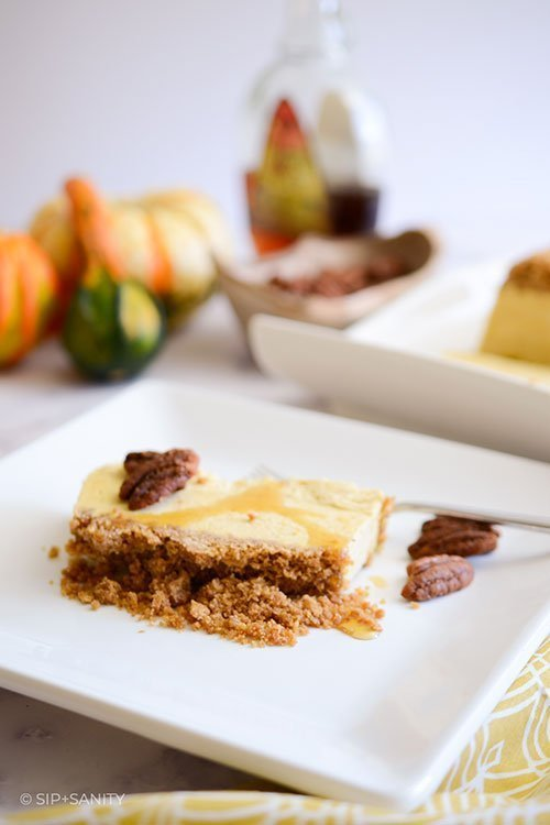 slice of pumpkin and maple semifreddo on a plate