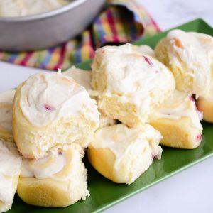 platter full of cranberry orange sweet rolls