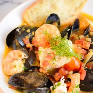 bowl of seafood stew