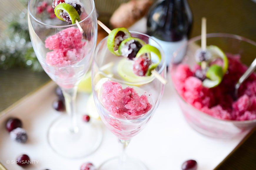 cranberry-lime granita in glasses