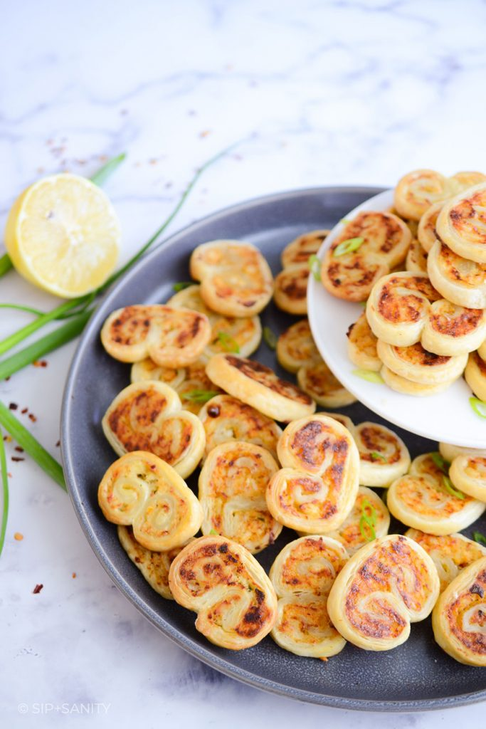 crab and goat cheese palmiers on a plate