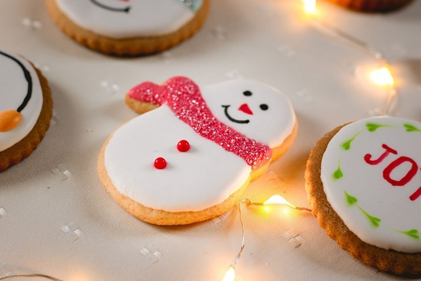snowman and other holiday cookies