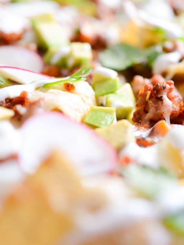 close up of easy sheet pan nachos