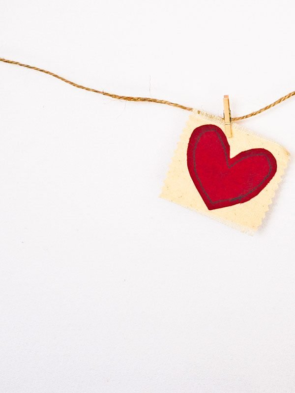 fabric heart hanging on a string