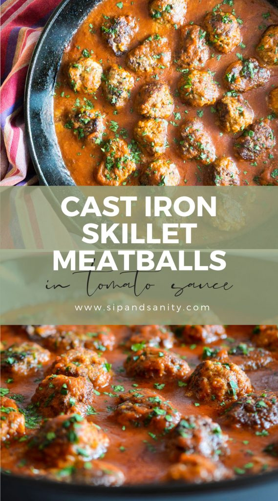 pin image for cast iron skillet meatballs