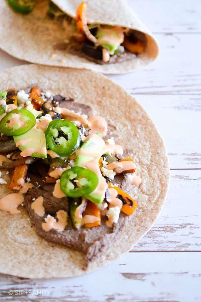 fajita veggie and black bean hummus wrap
