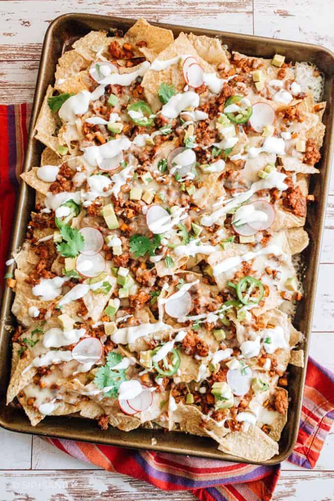 top shot of nachos