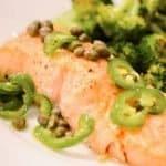roast salmon and broccoli with chili caper vinaigrette