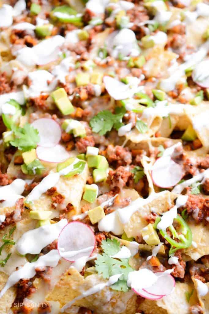 closeup of easy sheet pan nachos