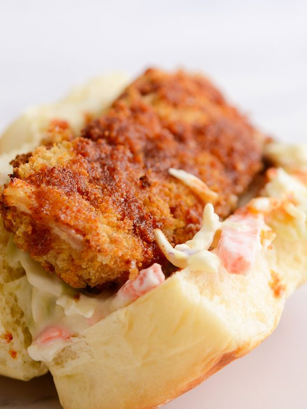 Air Fryer Spicy Fish Sandwiches with Creamy Yogurt Slaw