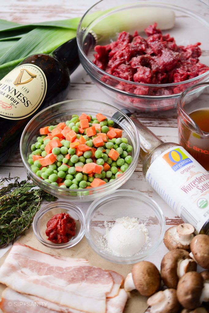 various ingredients for mini steak and stout pies