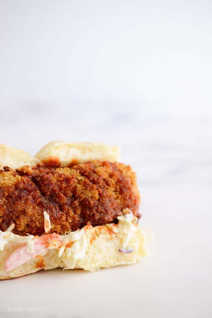 a single Air Fryer Spicy Fish Sandwich