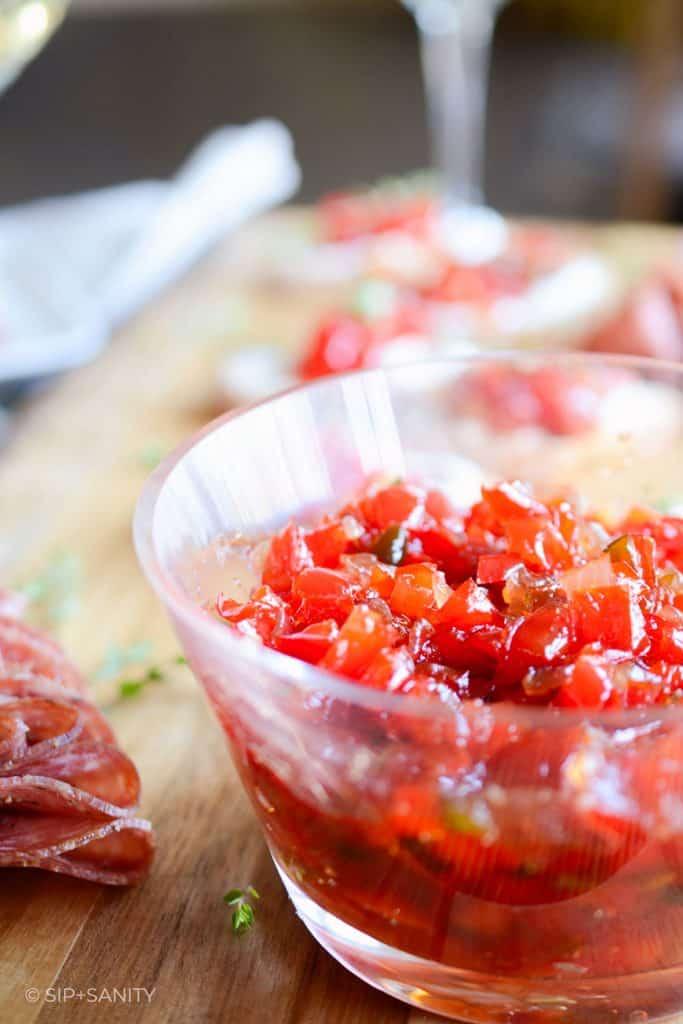 bowl of red pepper jam