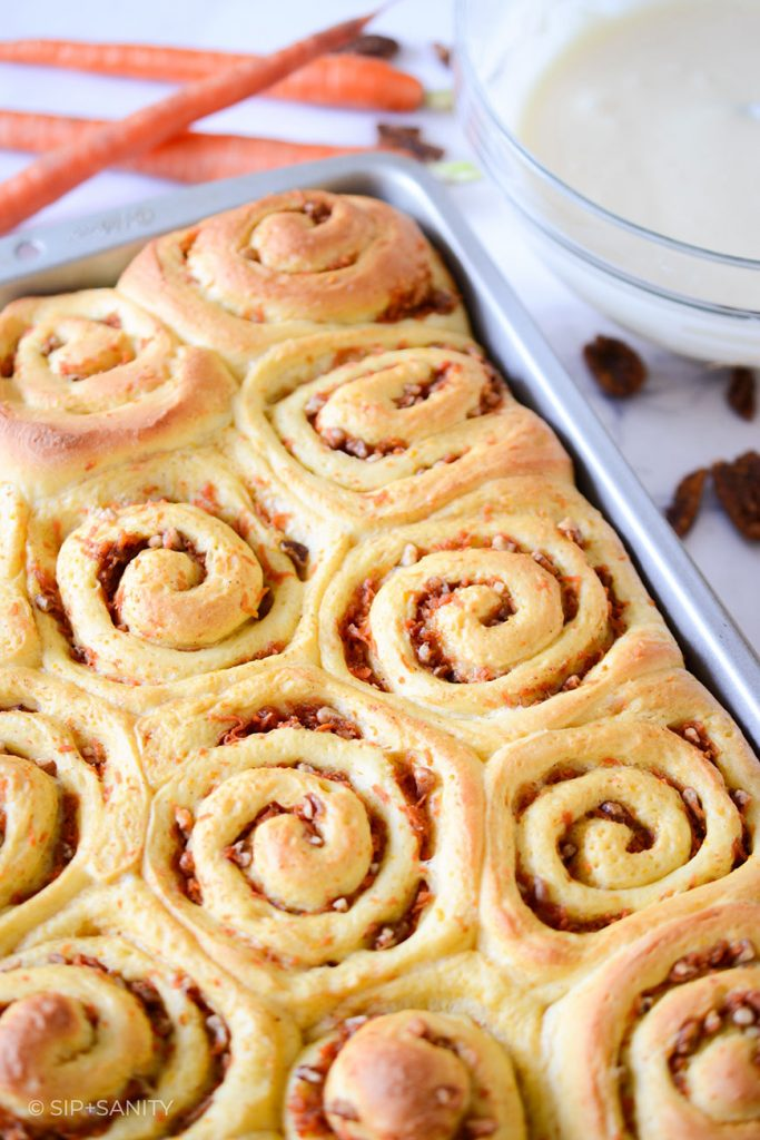 pan of cinnamon rolls before being iced