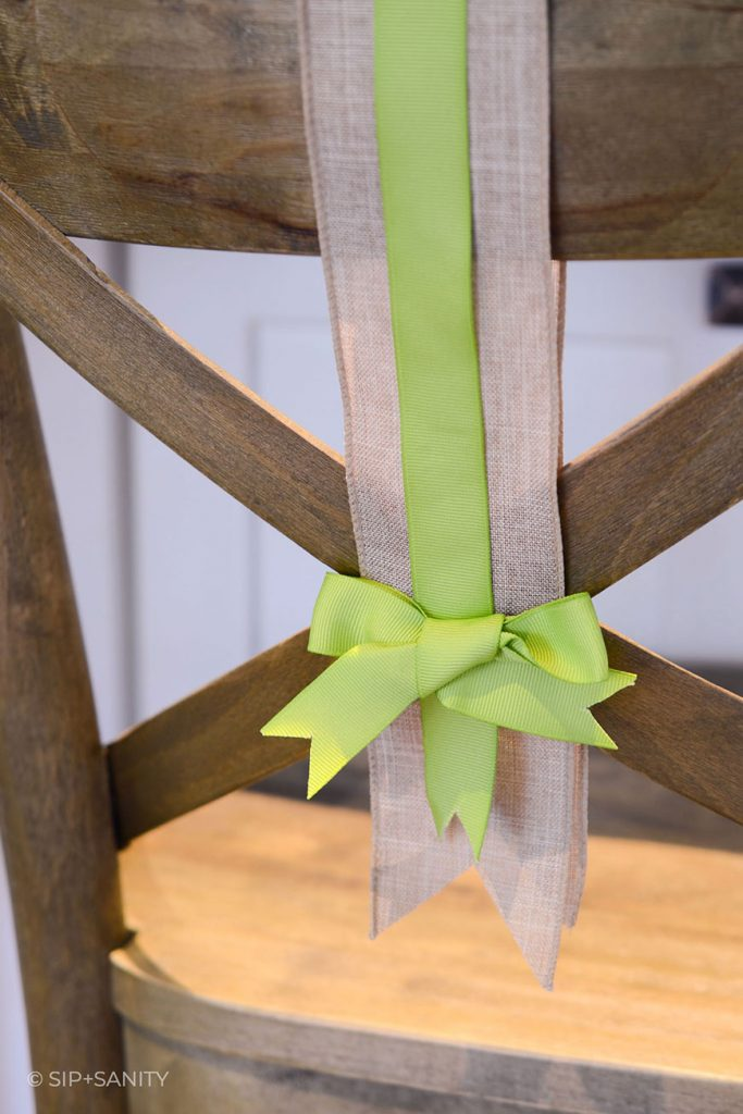 ribbons decorating a chair