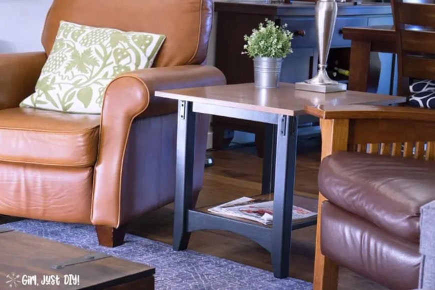 DIY industrial end table makeover from Girl, Just DIY!