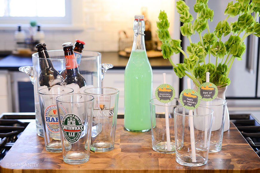 st. patrick's day celebration drink station