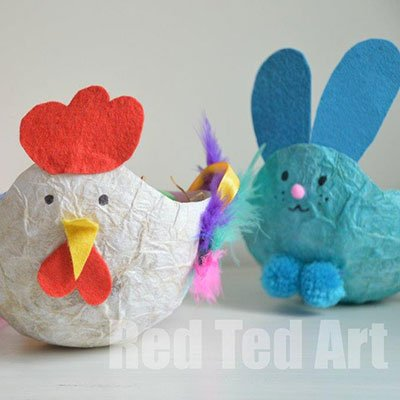 Recycled Tissue Paper Easter Baskets from Red Ted Art
