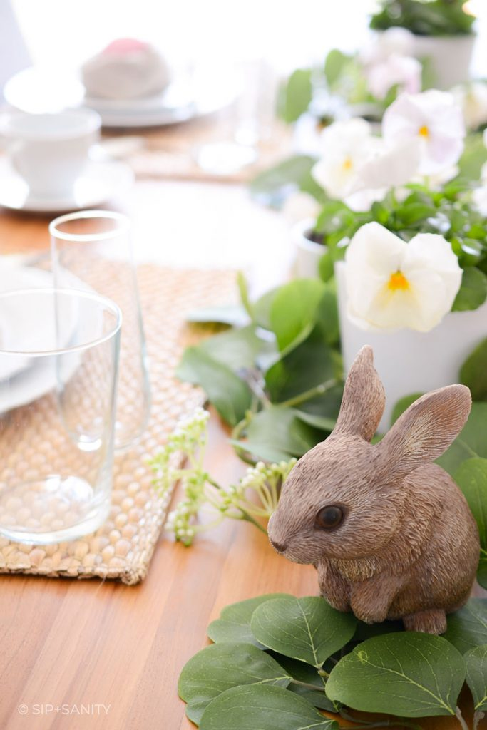 bunny in Easter table decor centerpiece