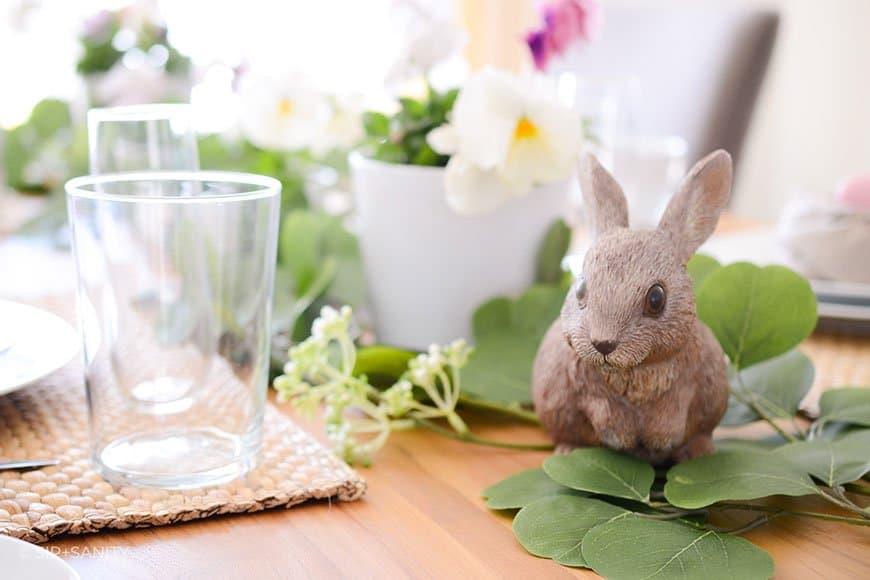 bunny amid simple Easter table decor