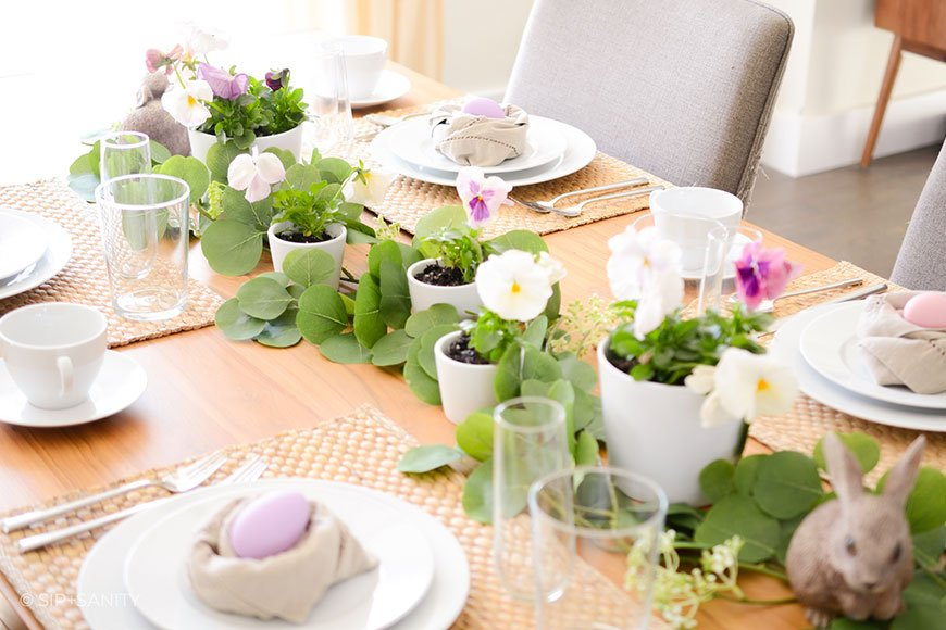 dining table decorated for Easter dinner