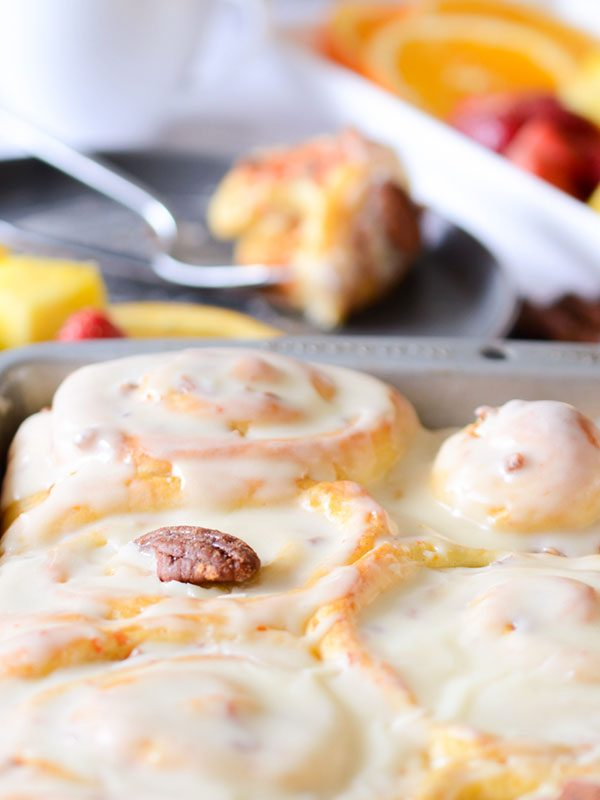 Orange Carrot Cinnamon Rolls with Cream Cheese Icing