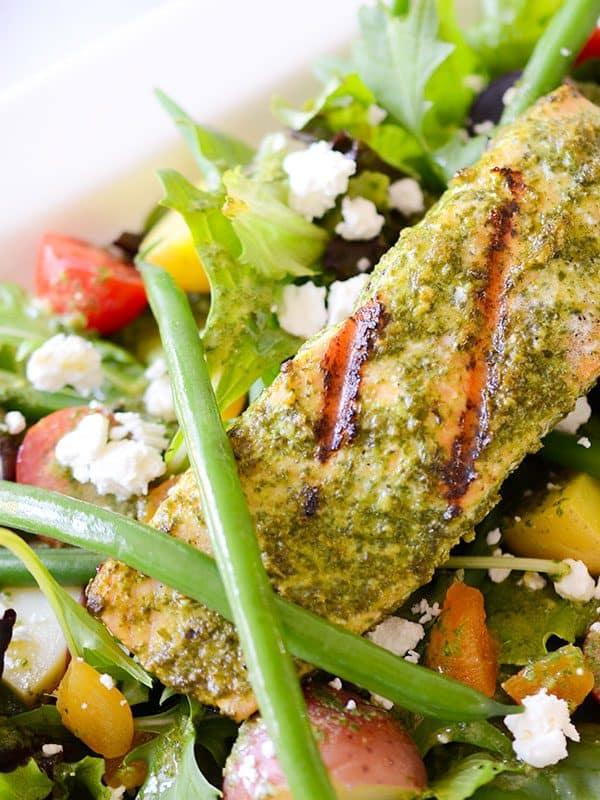 Grilled Salmon Salad with Basil Vinaigrette (à la Pistou)