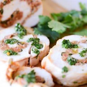 turkey and chorizo roulade slices